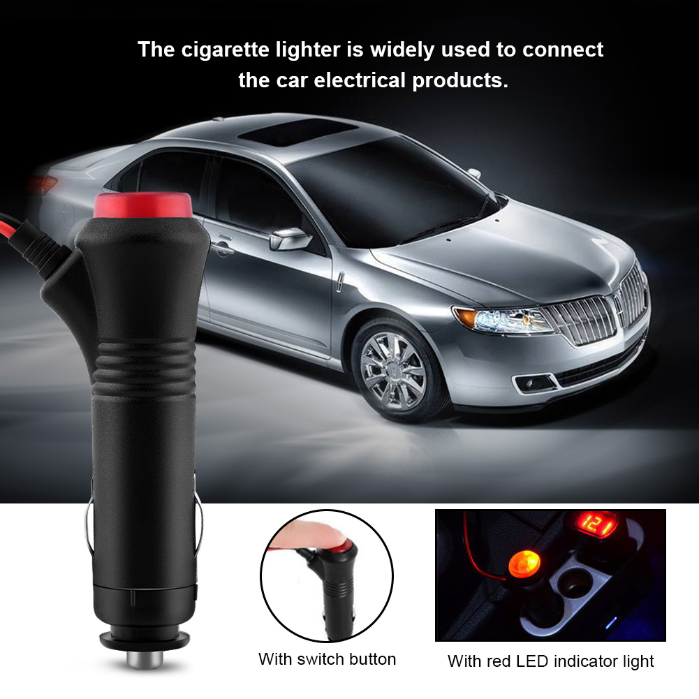 12v 24v Male Car Cigarette Lighter Socket Plug Connector W 10a Fuse Condition Monitor With Led Indicator 15m Wire