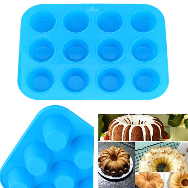 12 Silicone Mold Muffin Pudding Mould Bakeware Round Cup