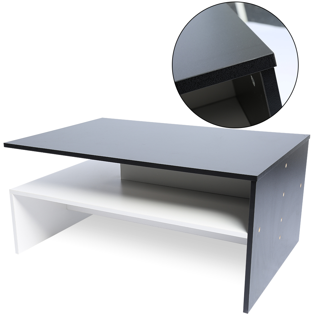 Black Coffee Table With Storage Uk: White + Black Coffee Table Side Wooden Rectangle Storage