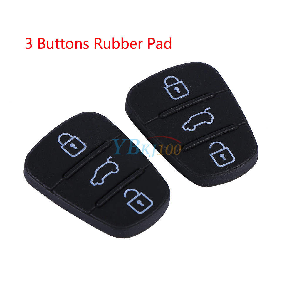 2x Black Replacement 3 Button Flip Key Fob Rubber Pad For Hyundai