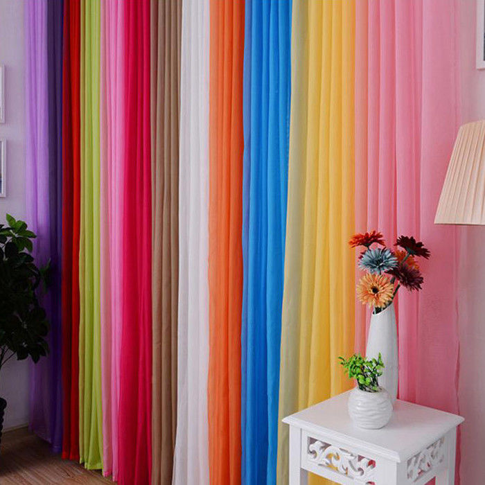 Valances Solid Tulle Voile Home Door Window Curtain Sheer