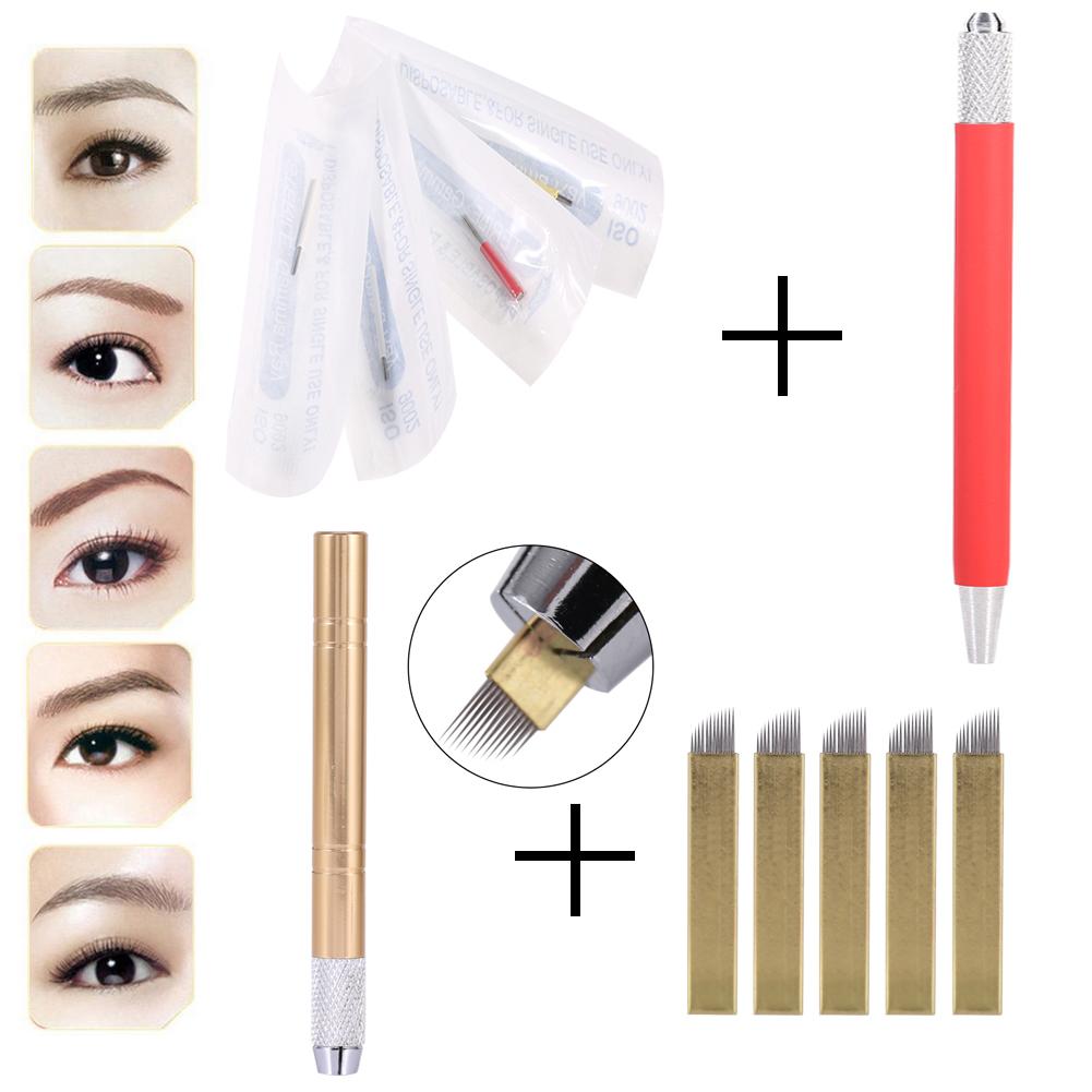 Microblading Permanent 3D Makeup Pen Eyebrow Tattoo Pen Pigment Needles Kit ZRM