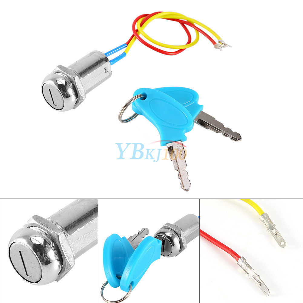 2 Wire & Key Ignition Switch Keys Lock For Electric Scooter ATV ...