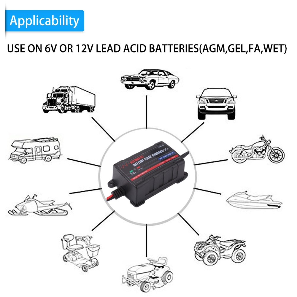 Car Battery Trickle Charger Maintainer 6v 12v Volt Amp Rv Motorcycle 750ma Lead Acid Mower Dh