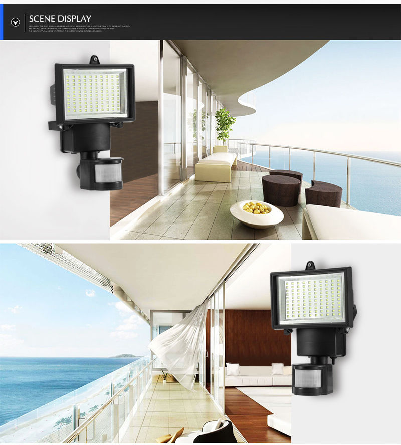 Solar Powered 60 Led Rechargeable Pit Motion Sensor Light