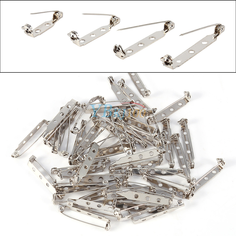 06980355ac4578 50pcs Silver Brooch Back Safety Catch Bar Pins Badge Making 20mm 25mm 32mm  38mm