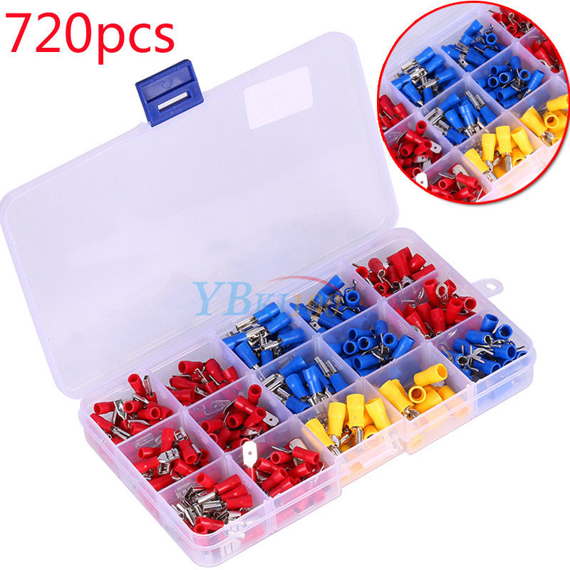 Assorted Plastic Toy On Yellow Surface: 720pcs Assorted Insulated Electrical Wire Terminals Crimp