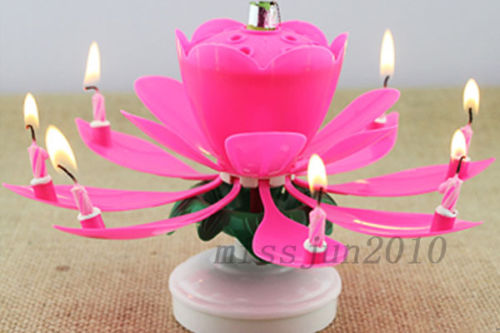 Amazing Flower Birthday Gift Magical Cake Blossom Lotus Musical Rotating Candle