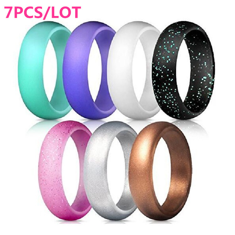 7 pcs silicone wedding ring men women rubber band for Four man rubber life craft