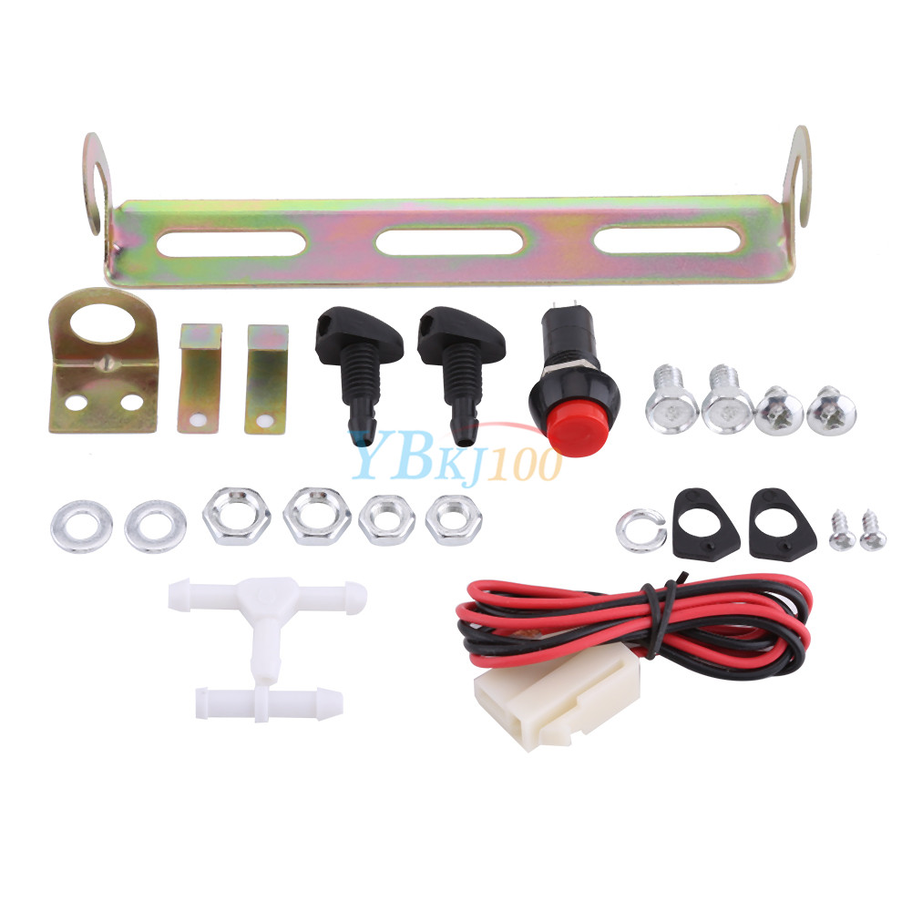 de921d34f70 Car 12V Windshield Washer Pump Bag Kit w  Jet Button Switch for Classic Cars  TP