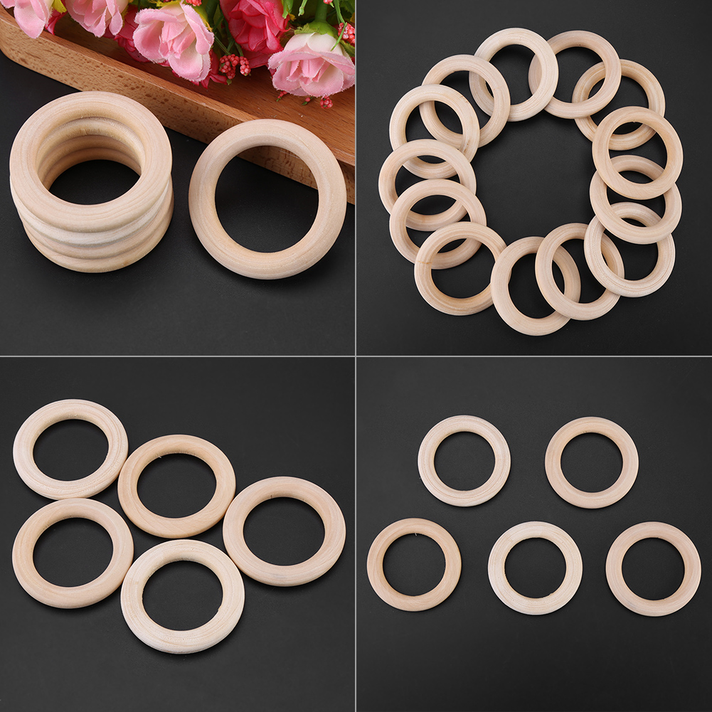 50pcs Natural Wood Rings Circle Unfinished Natural Wooden Round Rings DIY Wood Craft Pendant Connectors Jewelry Making
