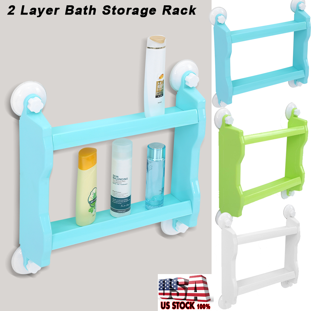 2 Layer Bathroom Bath Shower Suction Holder Shelf Storage Rack ...