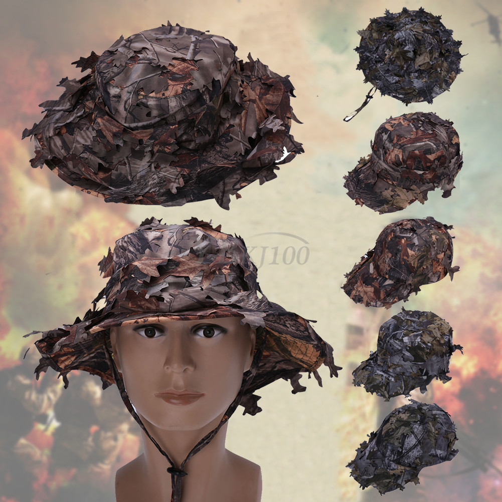 Adjustable 3D Tactics Camouflage Leaf Hat Clothing Hunting Camo Boonie Hat  Cap 4bd83c75c5f