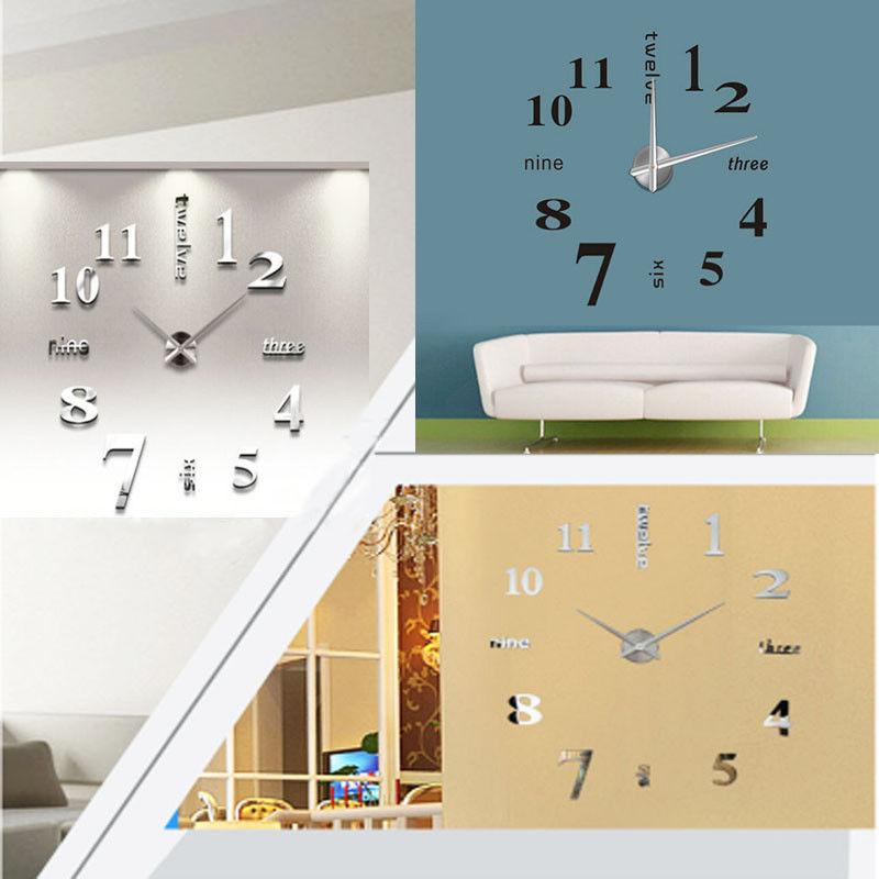 3D DIY Wall Art Mute Clock Decal Home Decoration Mirror Room Modern ...