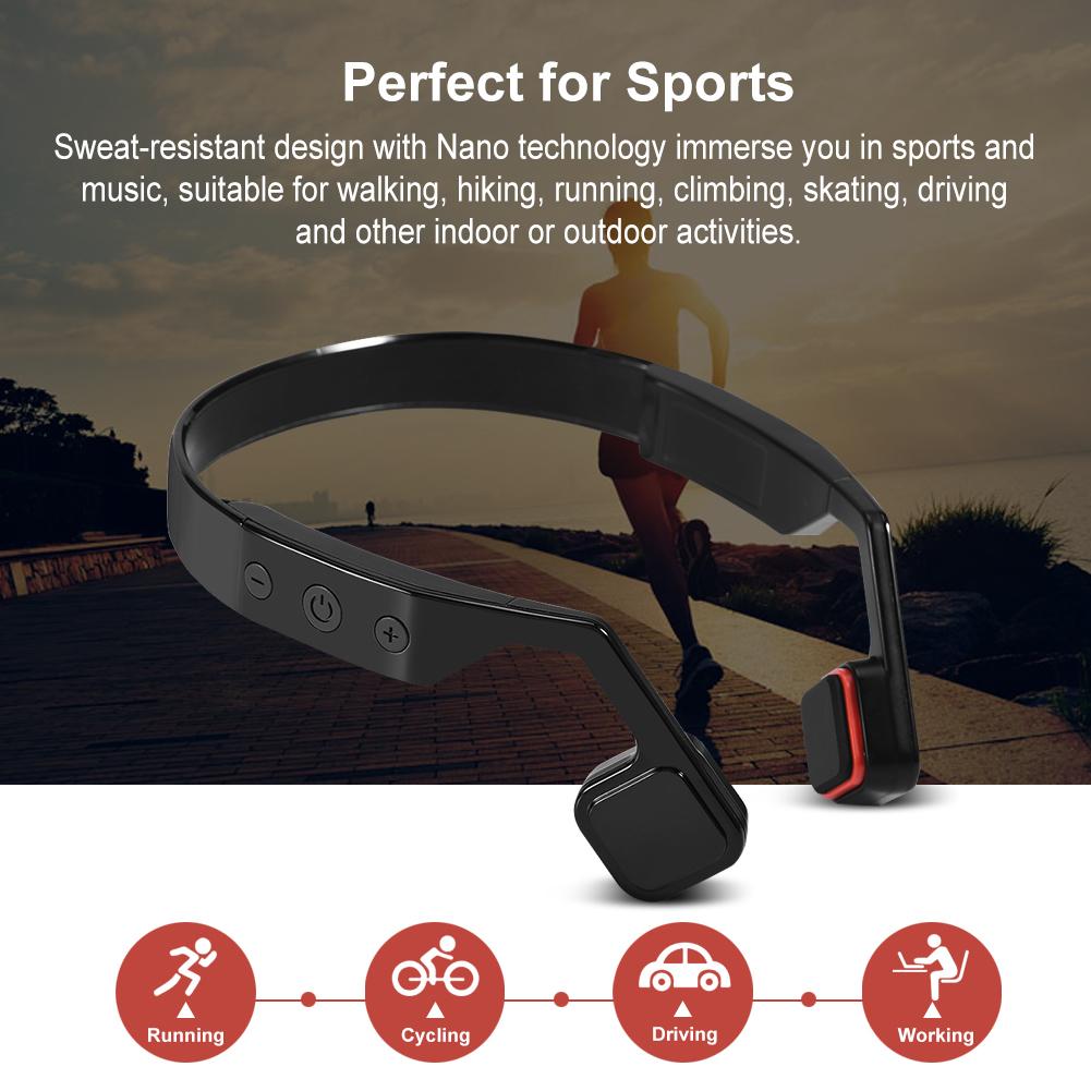 Wireless Bluetooth Bone Conduction Headset Sport Running Headphone Hands-free ZZ