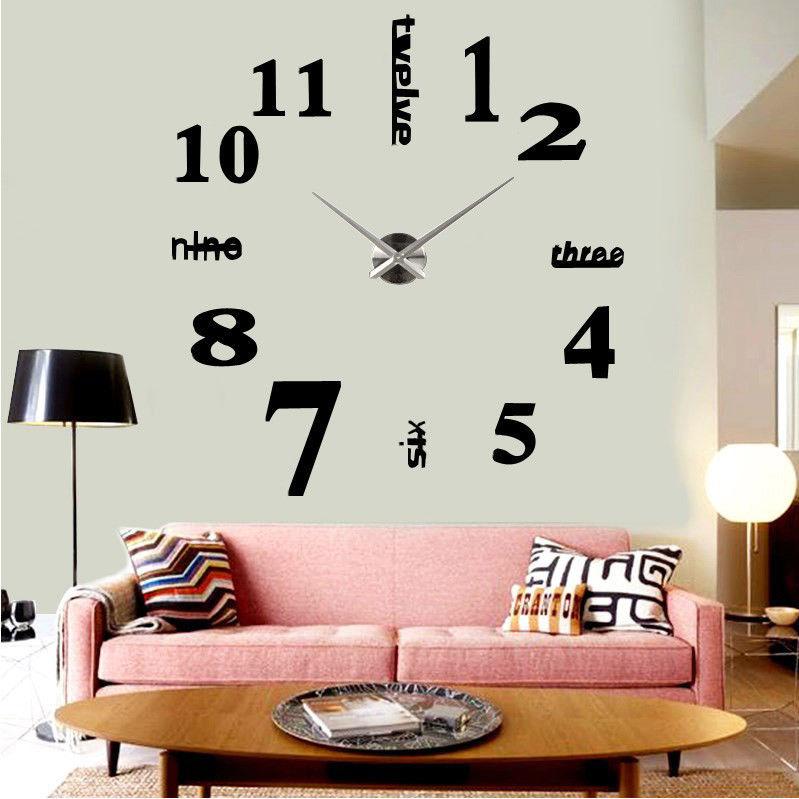 3D DIY Wall Art Mute Clock Decal Home Decoration Mirror