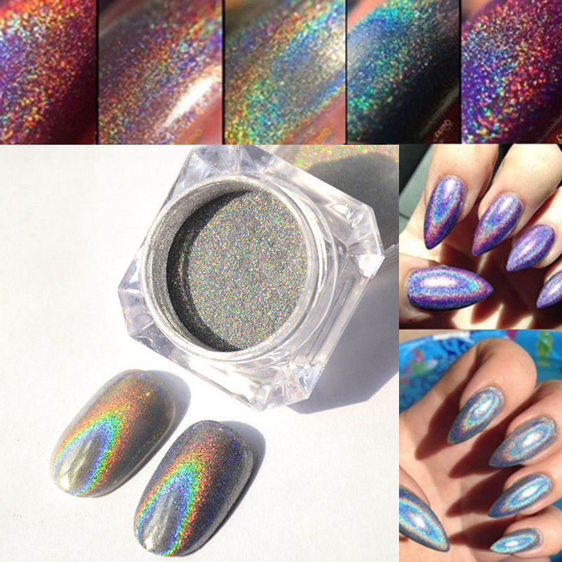 Beauty Holographic Laser Powder Nail Glitter Rainbow Chrome Pigments ...