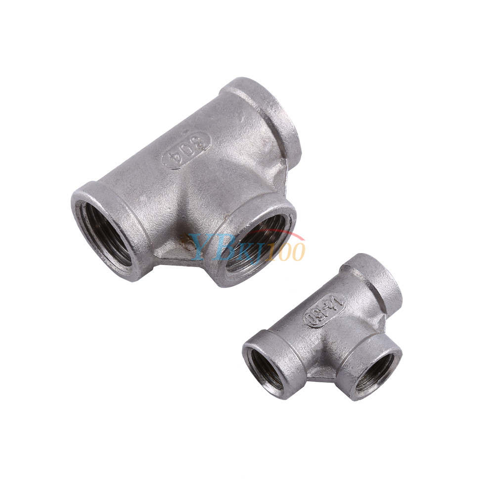 Quot tee way stainless female threaded pipe fitting