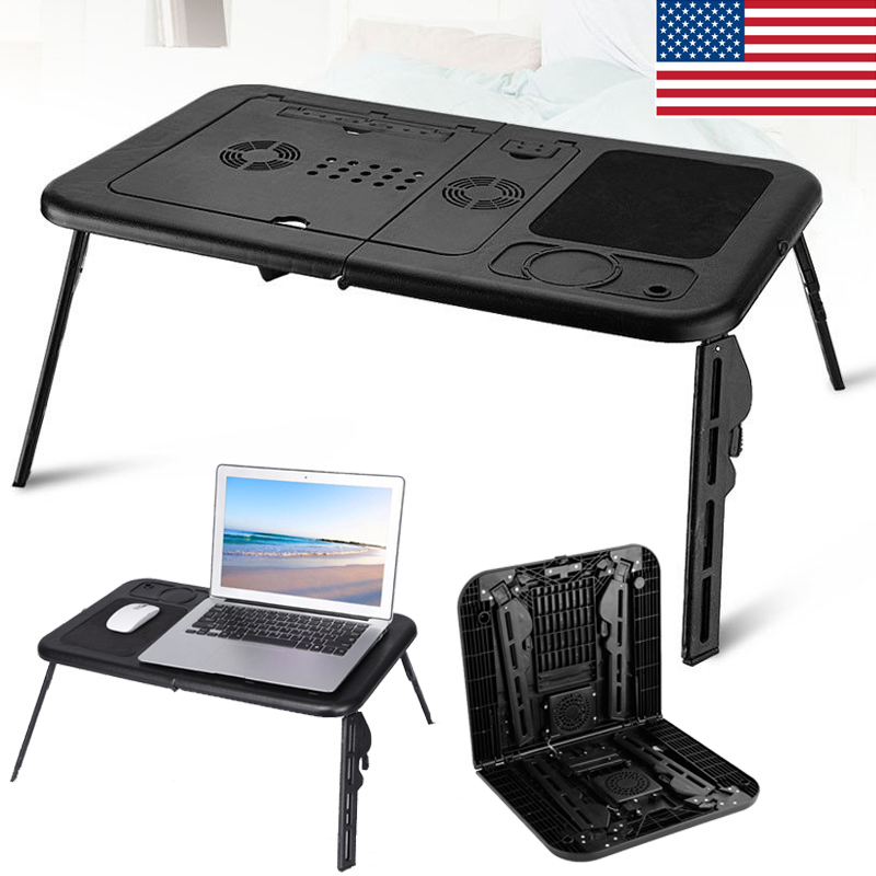 Portable Fan Stands : Adjustable foldable laptop desk table with cooling fan