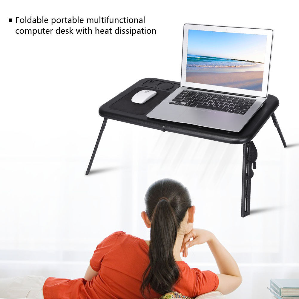 Adjustable Foldable Laptop Desk Table with Cooling Fan ...