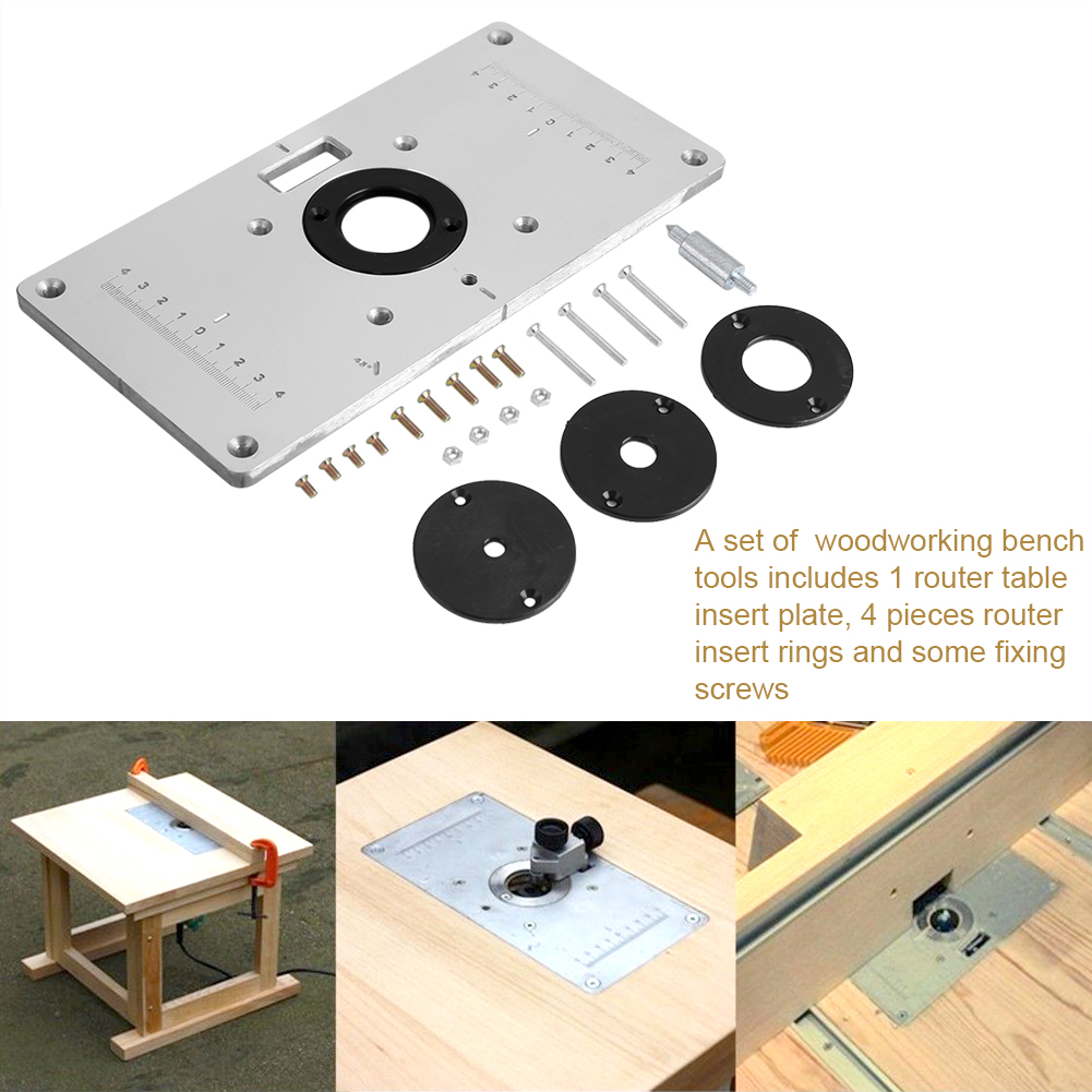 Aluminum Router Table Insert Plate W 4 Rings For Woodworking Benches Gl