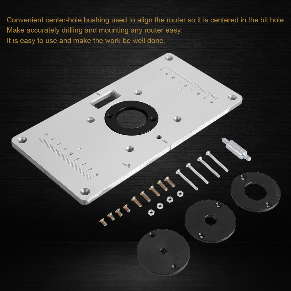 Aluminum router table insert plate w 4 rings screw for aluminum router table insert plate w 4 rings screw for woodworking benches gl greentooth Images