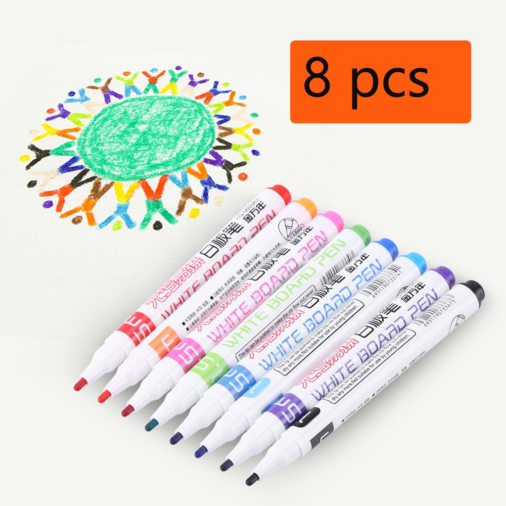 8 Colors Set Whiteboard Marker Pens Non-toxic Dry Erase