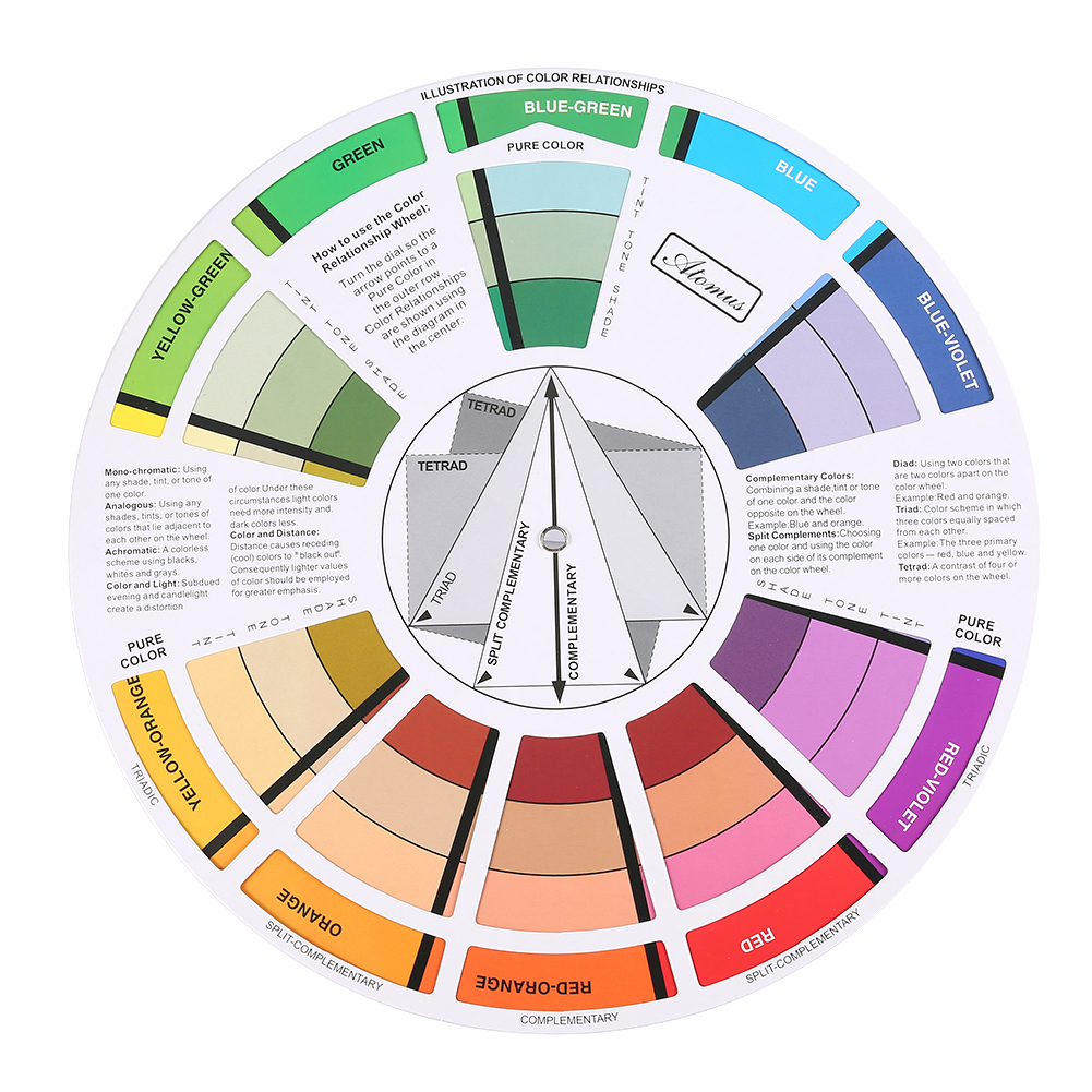 Portable Pocket Color Wheel Painting Mixing Guide Tool For Selection