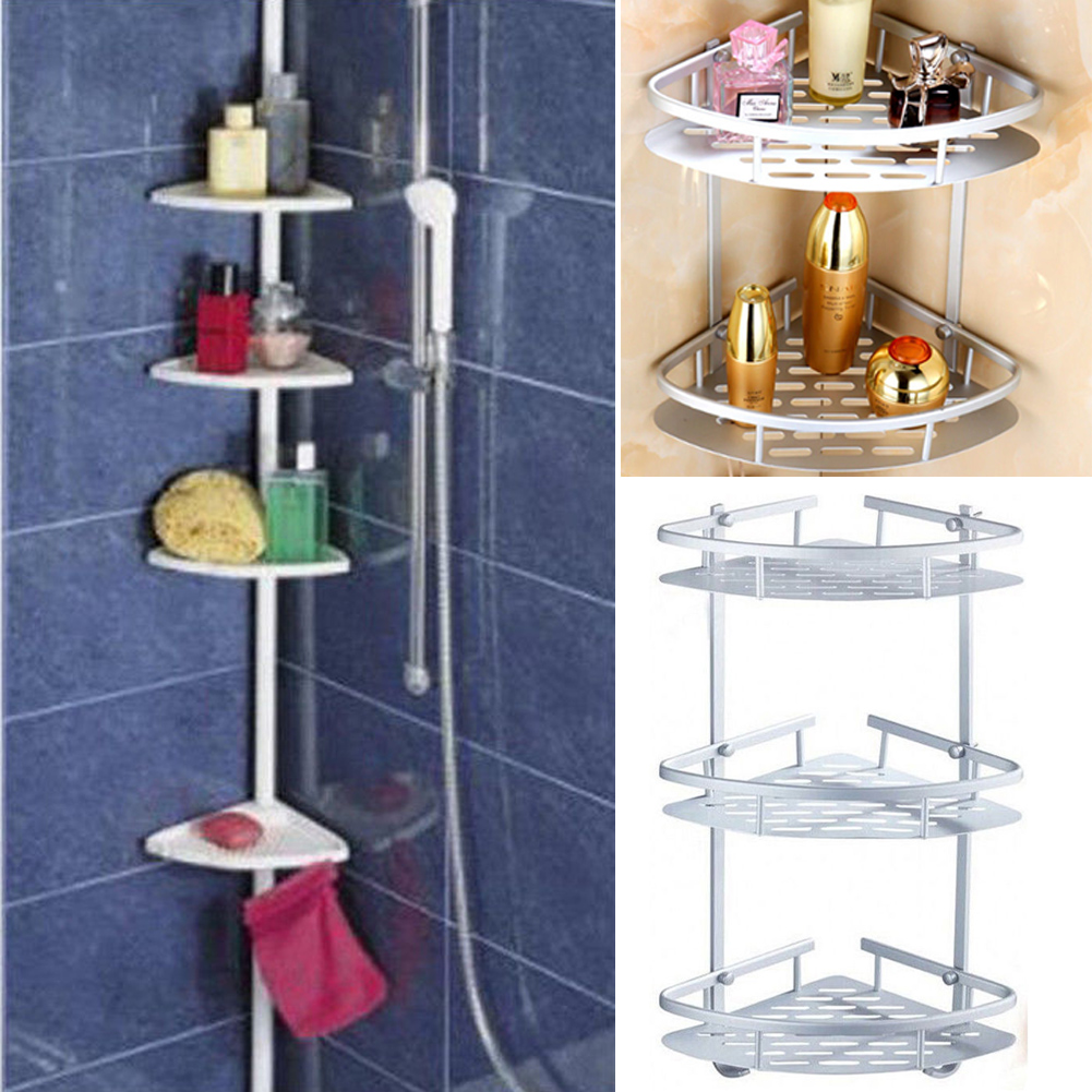 2/3/4 TIER CHROME BATH ORGANISER CORNER SHELF SHOWER STORAGE RACK ...