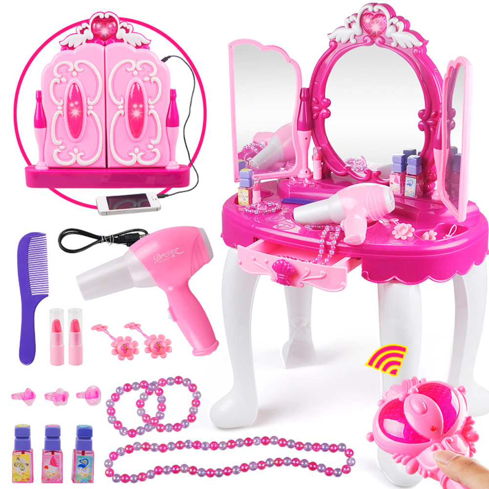 Girls Vanity Pink Mirror Make Up Jewelry Table Station Toy