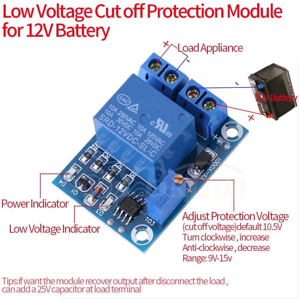 Batterie 12 V low voltage cut off ON Switch Controller excessive protection Module