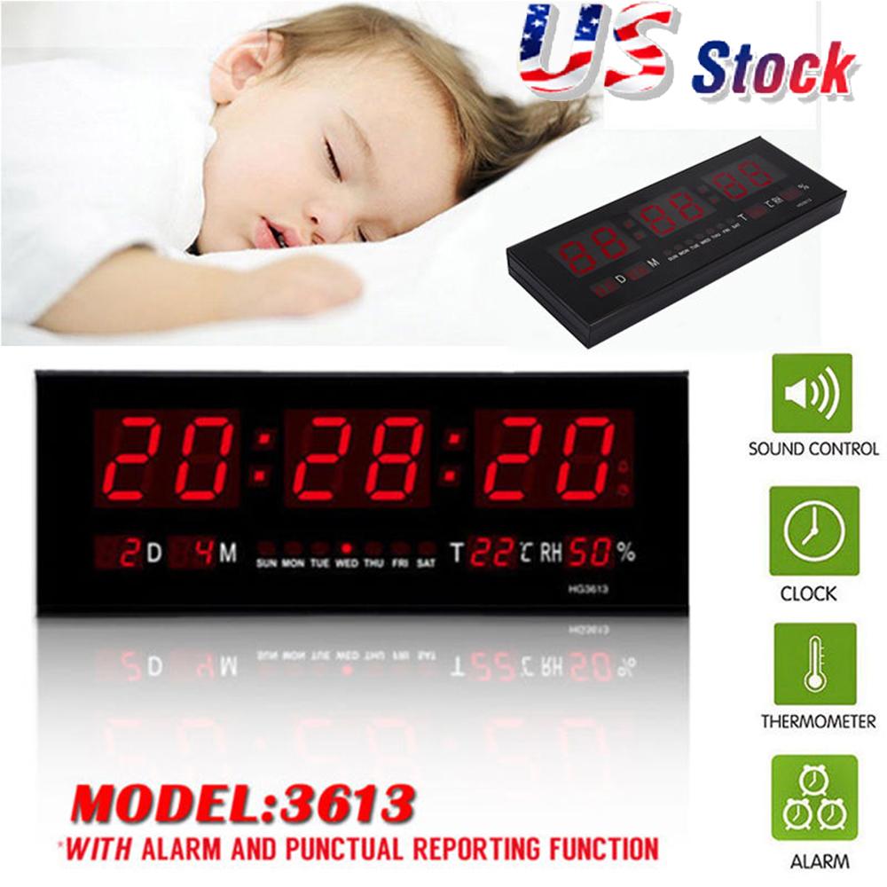 Details about Large Big Modern Digital LED Wall Clock 24 Hour Display Timer  Alarm Home Decor