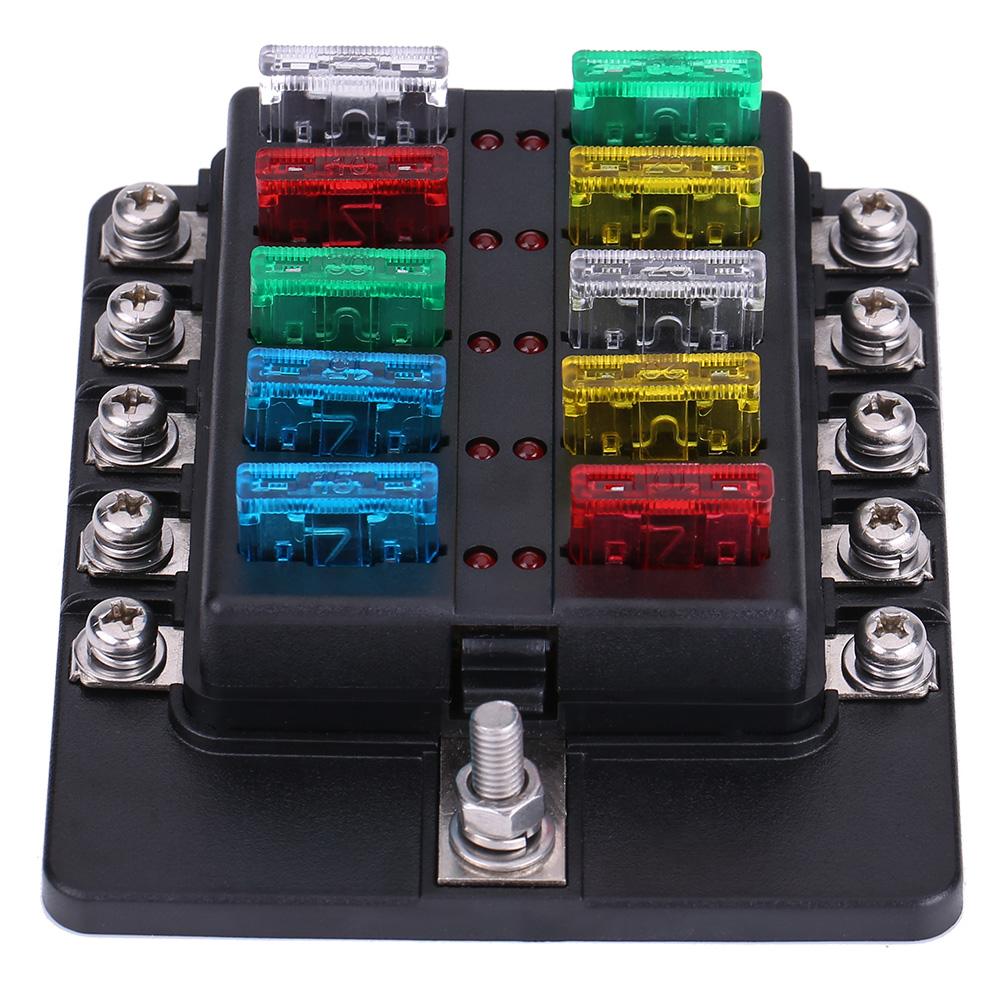 Car 10Way Circuit Blade Fuse Box ATO/ATC Block Holder Terminal Sticker Screw  Kit