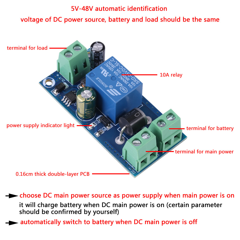 Details About 5v48v 10a Backup Battery Switch Automatic Module Emergency Controller Sg Circuit