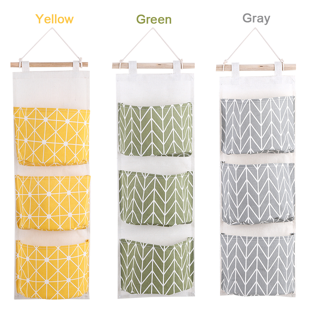 3 Pockets Wall Hanging Storage Bags Behind The Door Pouch Home Office  Organizer