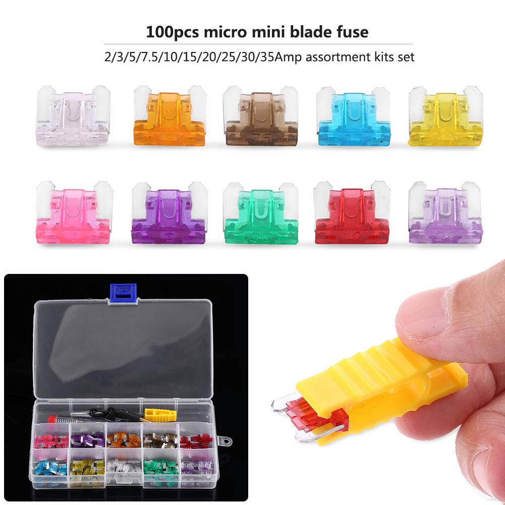 100pcs Car Mini Micro Blade Fuse 3//4//5//7.5//10//15//20//25//30//35A Test Pen with Box