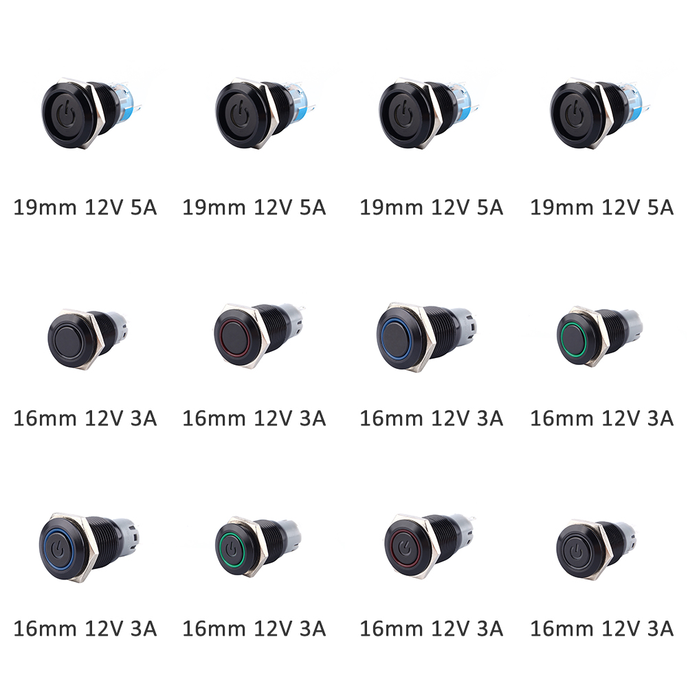 19mm 16mm 3a 5a 12v Push Button Self Locking 1no 1nc Latching Led Selflock Switch Square Light Momentary
