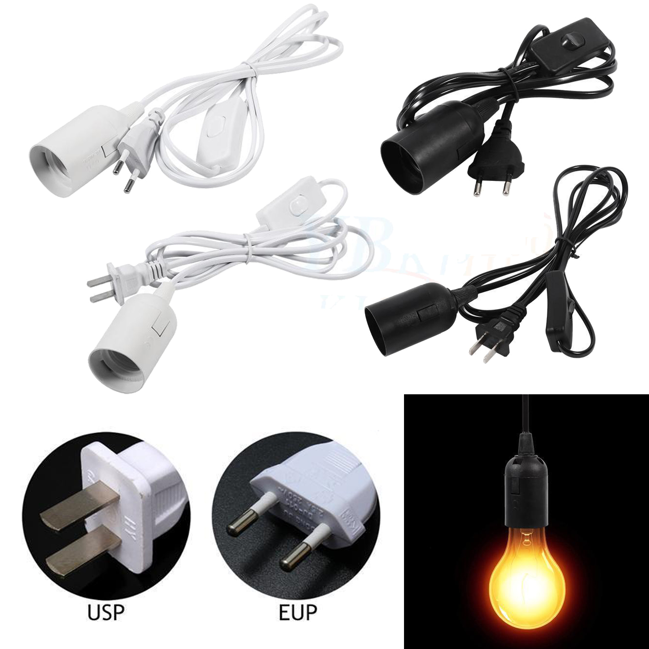 Details About E27 Plug In Pendant Light Fixture Lamp Bulb Socket Cord With Switch Idm