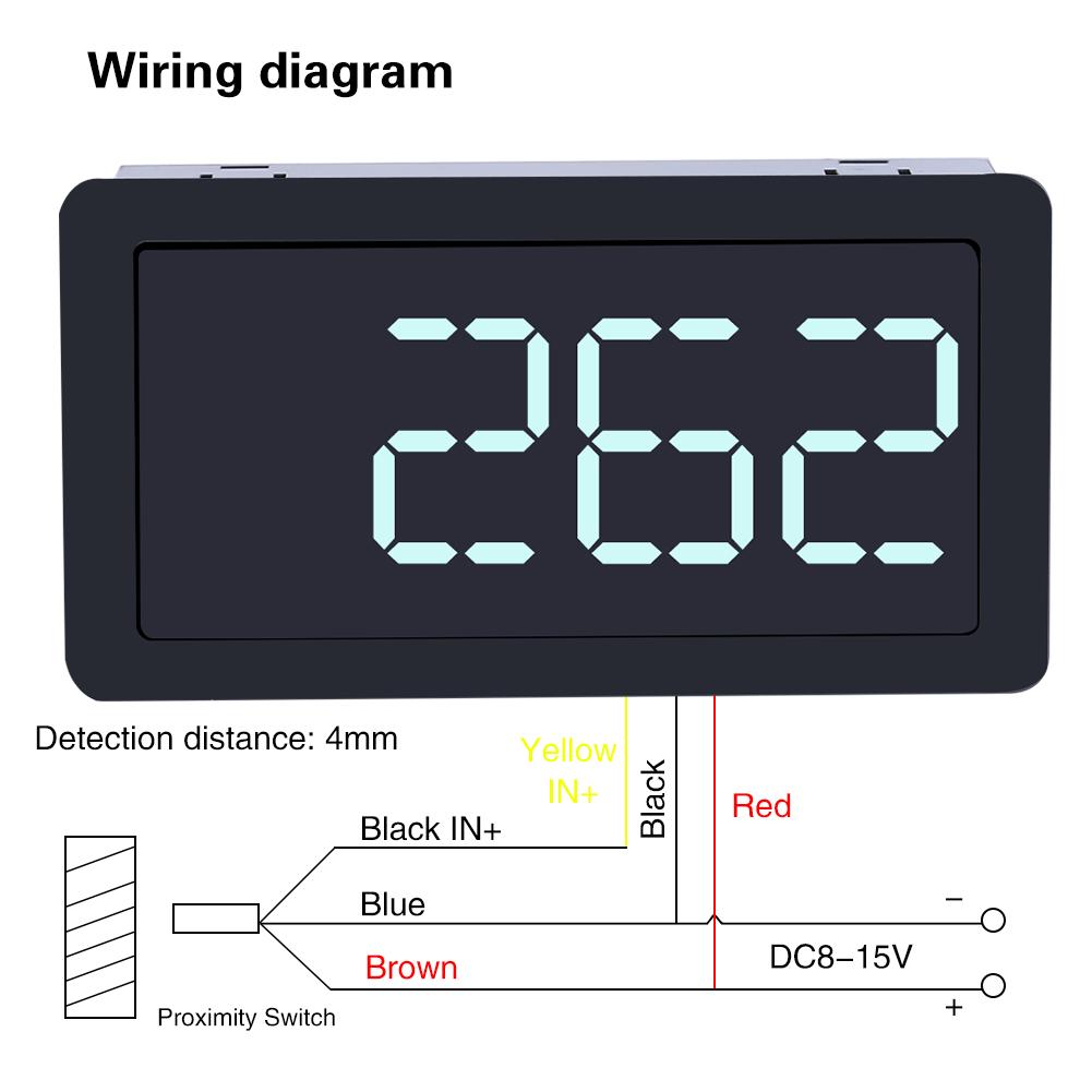 Dc 12v 4 Digital Led Tachometer Hall Proximity Switch Sensor Npn Red Wiring Diagram Green Blue
