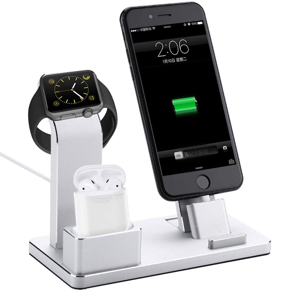4 in 1 charging dock station stand charger for apple watch iphone ipad airpod bt ebay. Black Bedroom Furniture Sets. Home Design Ideas