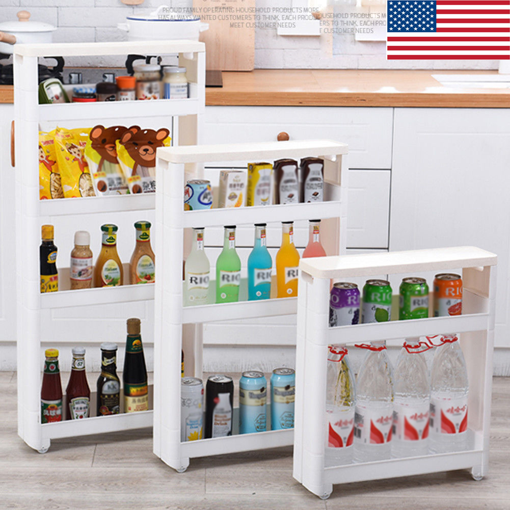 Slide Out Storage Tower 3/4 Tier Rolling Kitchen Trolley Spice Rack ...