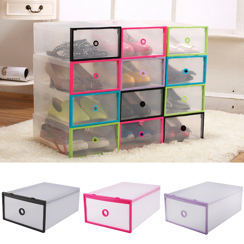 Foldable Clear Plastic Drawer Case Shoe Storage Stackable Box Organizer Home  sc 1 st  eBay & Foldable Clear Plastic Drawer Case Shoe Storage Stackable Box ...