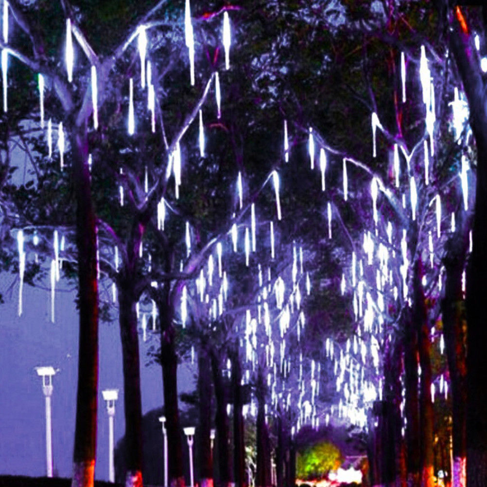 50cm 8 Falling Rain Drop Icicle Snow Fall String Led Cascading Tree Lights Decor