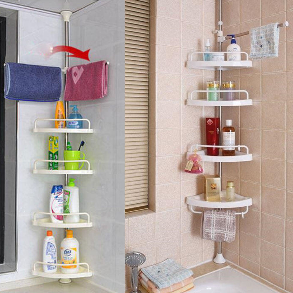 4-Tier Shower Caddy Shelf Bathroom Corner Bathroom Rack Storage ...