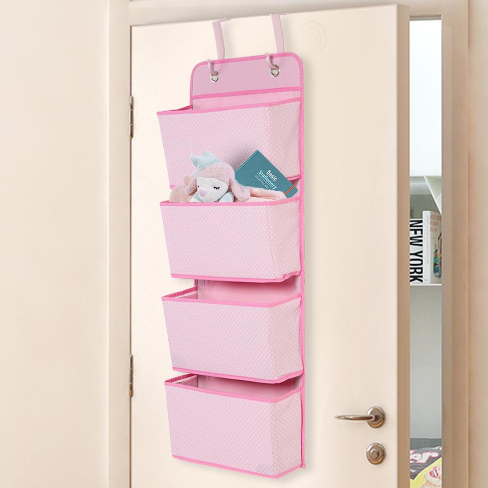 4 Tier Over The Door Hanging Organiser Storage Pockets Wardrobe Unit