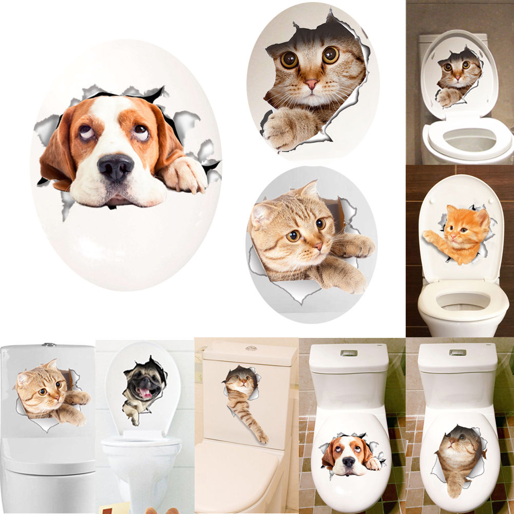 Cat Dog Diy Toilet Seat Cover Lid Sticker Bathroom Wall