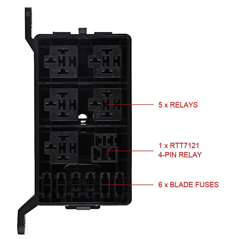 4 Pins Fuse Box 6 Relay Socket Block Holder for Auto Truck Pickup  ECM0034whs HOT