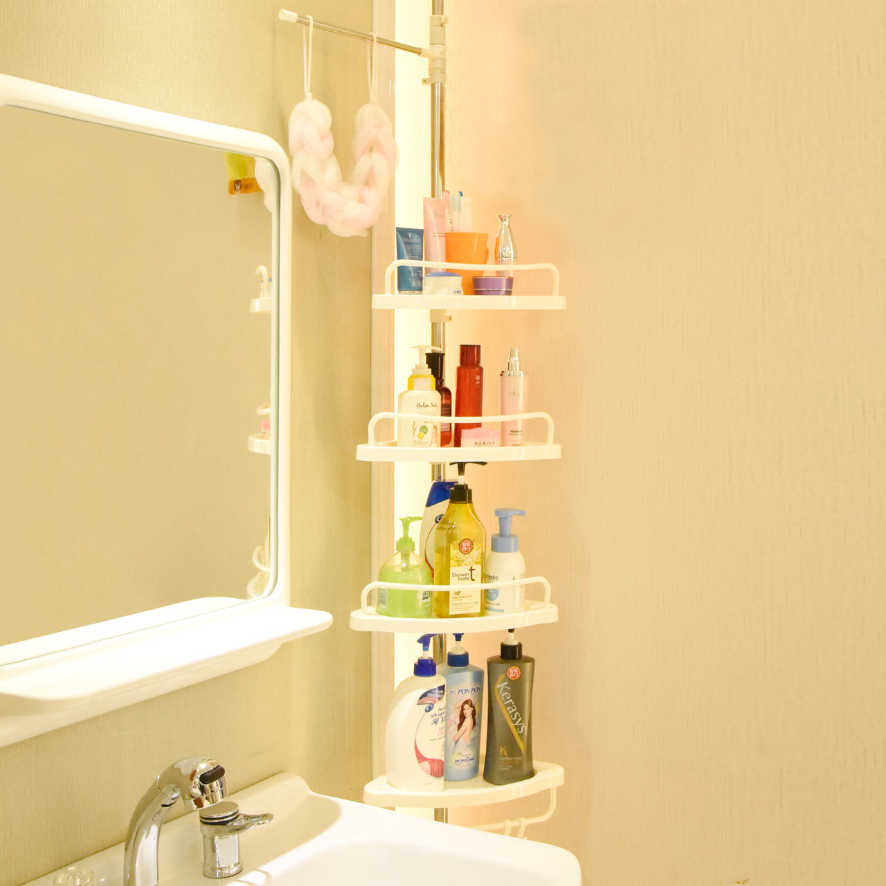 2-4Layer Triangular Shower Shelf Bathroom Corner bath Rack Storage ...