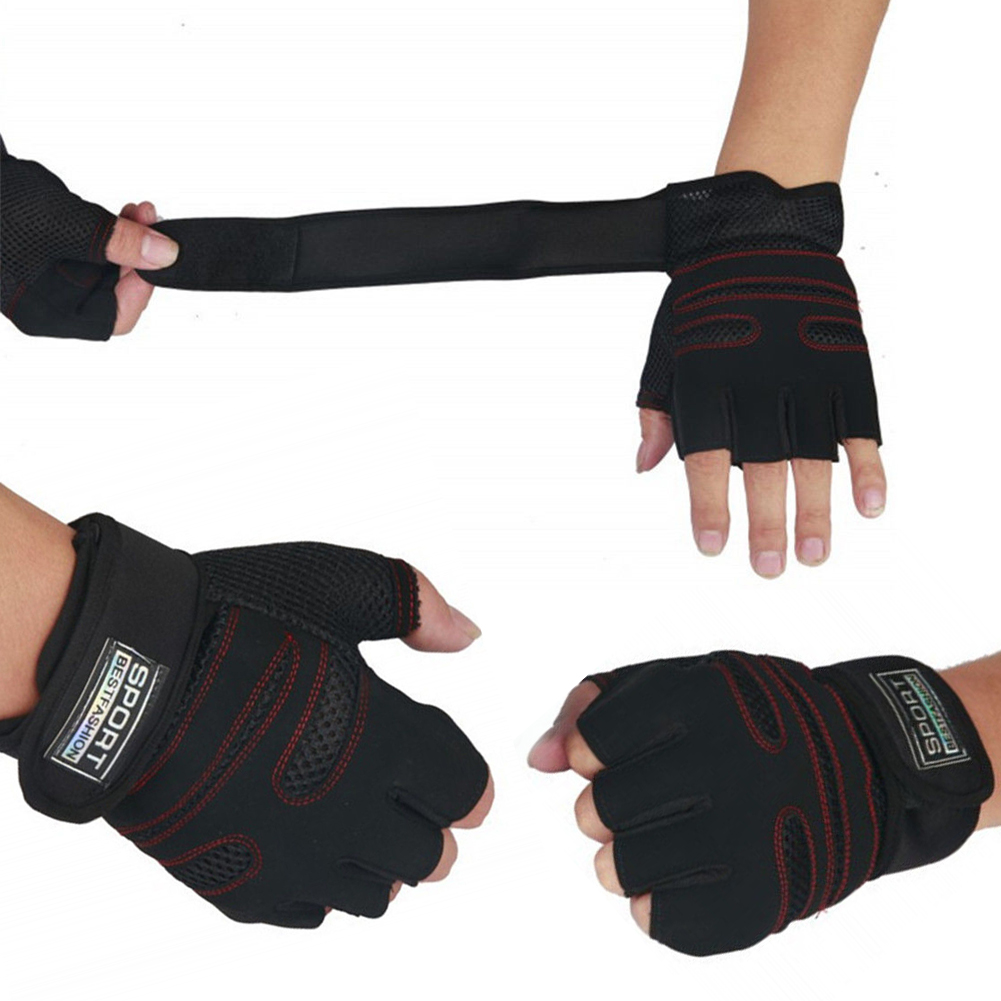 Weight Lifting Gloves With Wrap Around Wrist: Weight Lifting Gym Gloves Training Fitness Wrist Wrap