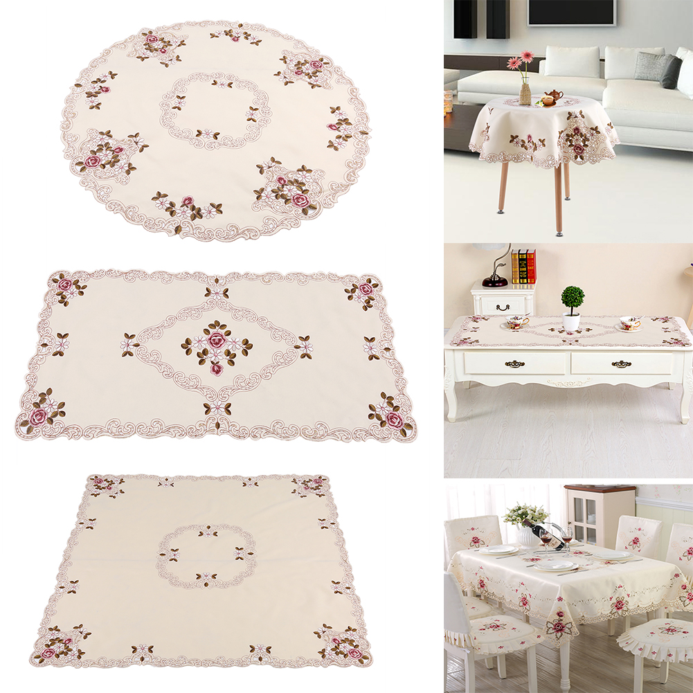 Round Square Rectangle Tablecloth European Embroidery Fl Tables Cover Gl